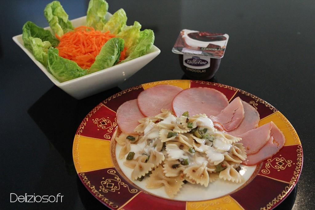 farfalles au bacon repas moins de 500 calories delizioso. Black Bedroom Furniture Sets. Home Design Ideas