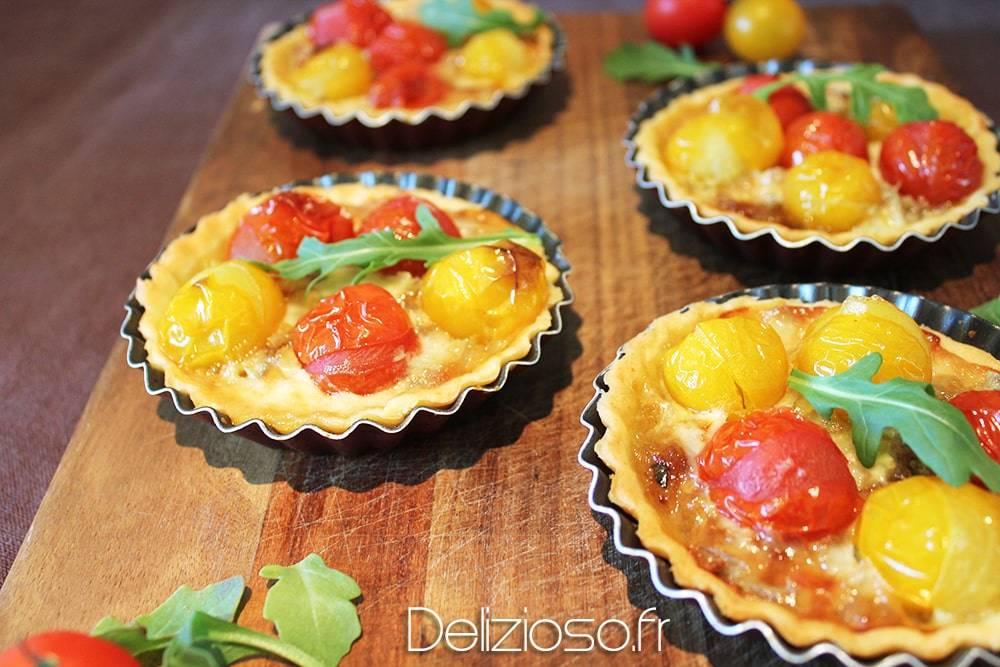 Tartelette oignon tomate gorgonzola