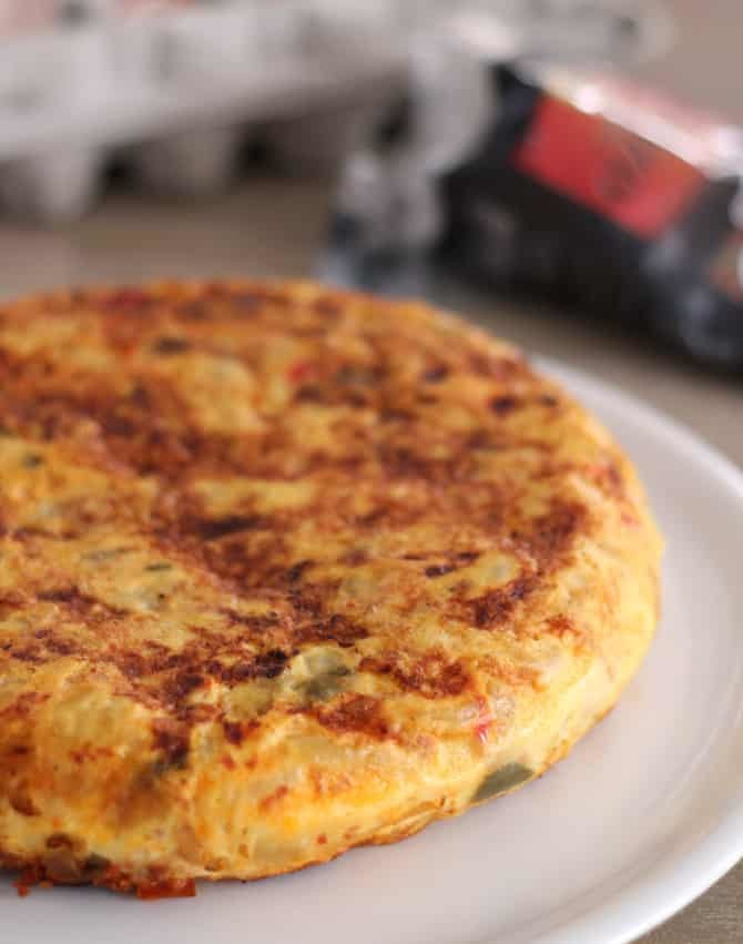 Tortilla aux poivrons et chorizo