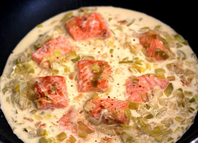 Blanquette de saumon aux poireaux