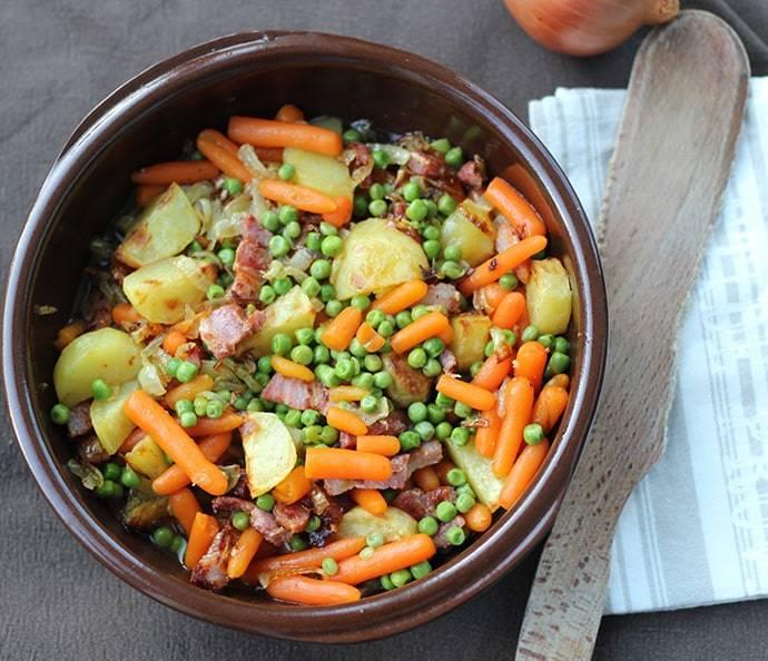 Petits pois carottes cuisinés