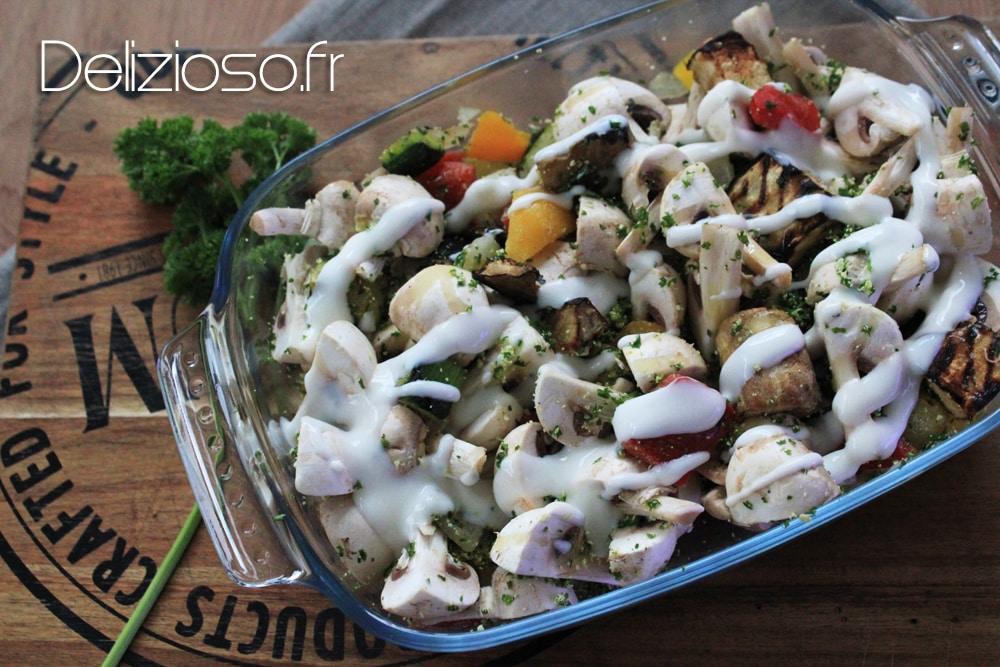 Gratin de poulet champignons légumes