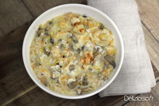 Riz crémeux au poulet et légumes
