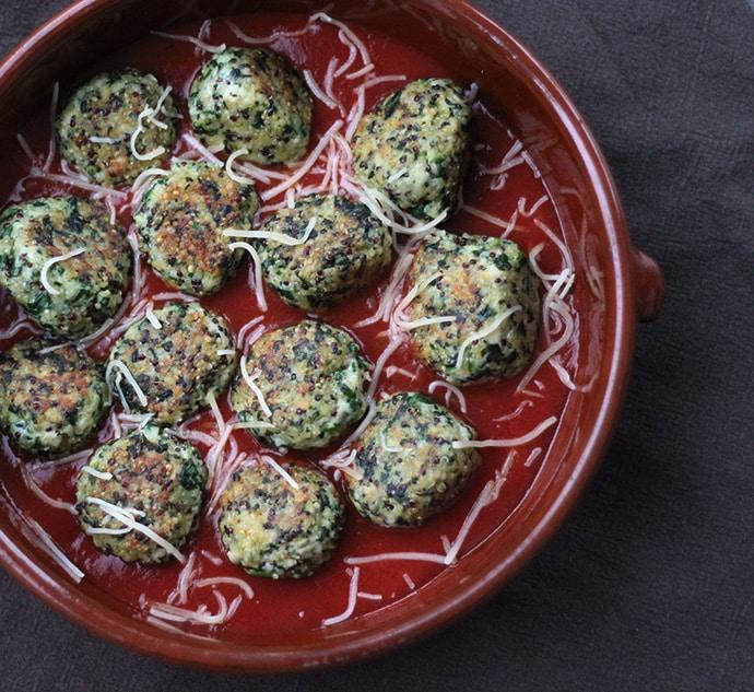 Boulettes de poulet au Quinoa et épinards
