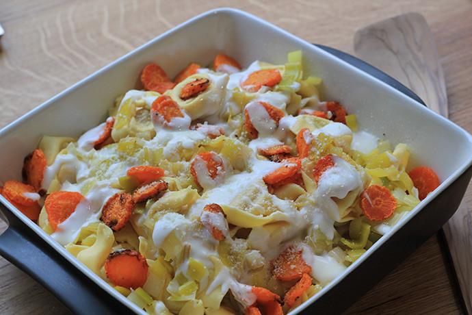 Gratin de pâtes farcies aux carottes